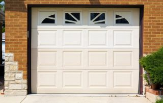 White electric garage door with upper windows