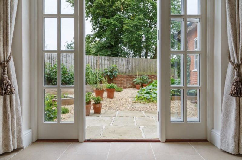 French doors leading to kitchen garden